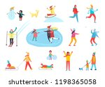 winter holidays active people... | Shutterstock .eps vector #1198365058
