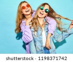 two young beautiful blond... | Shutterstock . vector #1198371742