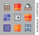 drawer icon set. vector set... | Shutterstock .eps vector #1198375618