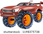 monster speed car with big... | Shutterstock .eps vector #1198375738