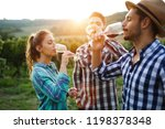 wine growers tasting wine in... | Shutterstock . vector #1198378348