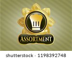 gold badge with chef hat icon... | Shutterstock .eps vector #1198392748
