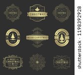 christmas labels and badges... | Shutterstock .eps vector #1198392928