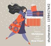 christmas card in cartoon style.... | Shutterstock .eps vector #1198417642
