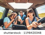 checking navigation in car.... | Shutterstock . vector #1198420348