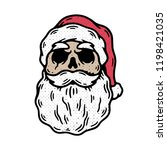 skull santa with beard hand... | Shutterstock .eps vector #1198421035