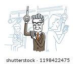 senior men using smartphones on ... | Shutterstock .eps vector #1198422475