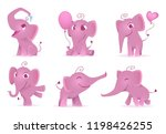 adorable elephants. cute and... | Shutterstock .eps vector #1198426255