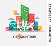 city marathon stylized vector... | Shutterstock .eps vector #1198429615