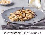 mushroom risotto on white grey  ... | Shutterstock . vector #1198430425