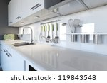 Stock photo modern white kitchen clean interior design 119843548
