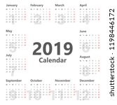calendar 2019 simple style.... | Shutterstock .eps vector #1198446172