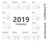 calendar 2019 simple style.... | Shutterstock .eps vector #1198446175
