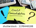 debt consolidation written by... | Shutterstock . vector #1198448188