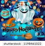 happy halloween night party ad...   Shutterstock .eps vector #1198461022