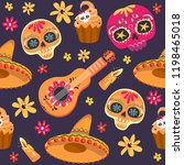 day of the dead seamless vector ... | Shutterstock .eps vector #1198465018