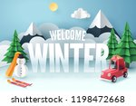 paper art of red car park at... | Shutterstock .eps vector #1198472668