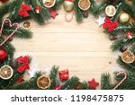 christmas decorations with dry... | Shutterstock . vector #1198475875