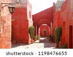 deep orange color old buildings ... | Shutterstock . vector #1198476655