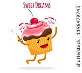 sweet dreams card with happy... | Shutterstock .eps vector #1198479745