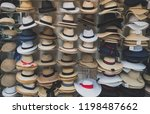 variety of hats for sale in the ... | Shutterstock . vector #1198487662