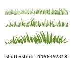 hand drawn ink grass set...   Shutterstock .eps vector #1198492318