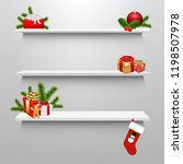 empty shelves with christmas... | Shutterstock .eps vector #1198507978