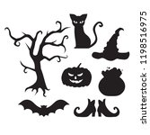 halloween flat elements for... | Shutterstock .eps vector #1198516975