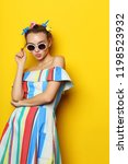 fashion cool girl posing in... | Shutterstock . vector #1198523932