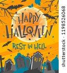 spooky halloween poster with... | Shutterstock .eps vector #1198526068