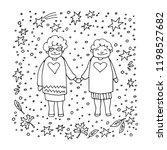 elderly gay woman couple on... | Shutterstock .eps vector #1198527682