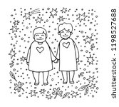 elderly gay woman couple on... | Shutterstock .eps vector #1198527688