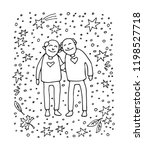 elderly gay couple on white... | Shutterstock .eps vector #1198527718