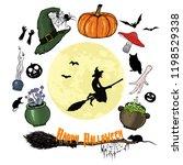happy halloween graphic set.... | Shutterstock .eps vector #1198529338