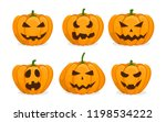 set of orange pumpkins. jack o... | Shutterstock .eps vector #1198534222