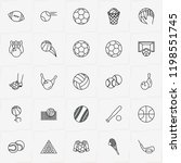 balls line icon set with rugby...   Shutterstock .eps vector #1198551745