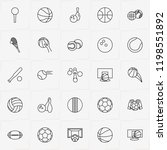 balls line icon set with tennis ...   Shutterstock .eps vector #1198551892