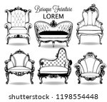 baroque armchair and sofa set.... | Shutterstock .eps vector #1198554448