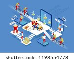couriers delivered hot pizza. a ... | Shutterstock .eps vector #1198554778