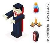 halloween vampire icons set... | Shutterstock . vector #1198561642