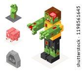 halloween zombie icons set...   Shutterstock . vector #1198561645