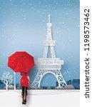 winterseason  woman wearing a... | Shutterstock .eps vector #1198573462