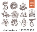 christmas and happy new year... | Shutterstock .eps vector #1198582198