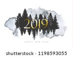 2019 merry christmas and happy... | Shutterstock .eps vector #1198593055