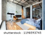 luxury studio apartment with a... | Shutterstock . vector #1198593745