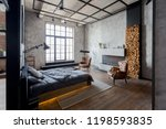 luxury studio apartment with a... | Shutterstock . vector #1198593835
