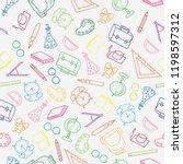 doodle pattern back to school... | Shutterstock .eps vector #1198597312