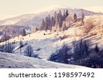 winter mountain landscape.... | Shutterstock . vector #1198597492