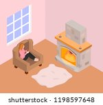 a girl sits in an armchair and... | Shutterstock .eps vector #1198597648