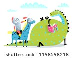 reading book dragon and knight... | Shutterstock .eps vector #1198598218